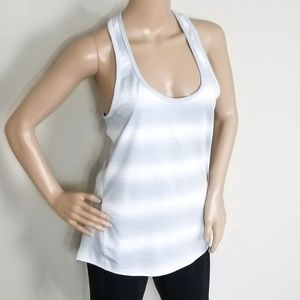 ATHLETA GRAY AND WHITE STRIPE ACTIVEWEAR TOP M